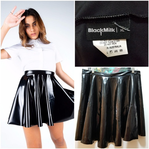 c87b7fb21973 Blackmilk Skirts | Xl Black Milk Pvc Skater Skirt | Poshmark